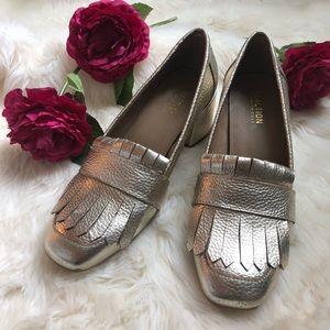 Gold Heeled Loafers